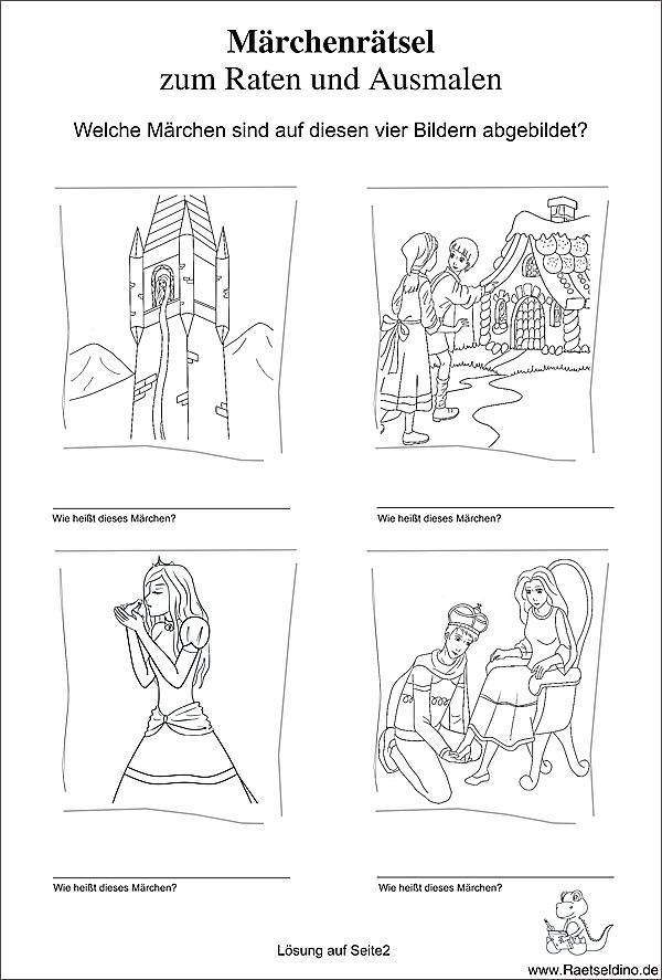 Märchenrätsel zum kostenlosen Ausdrucken