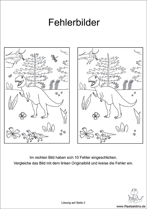 Fehlersuchbild Dinosaurier   Kinder Rätsel zum Ausdrucken