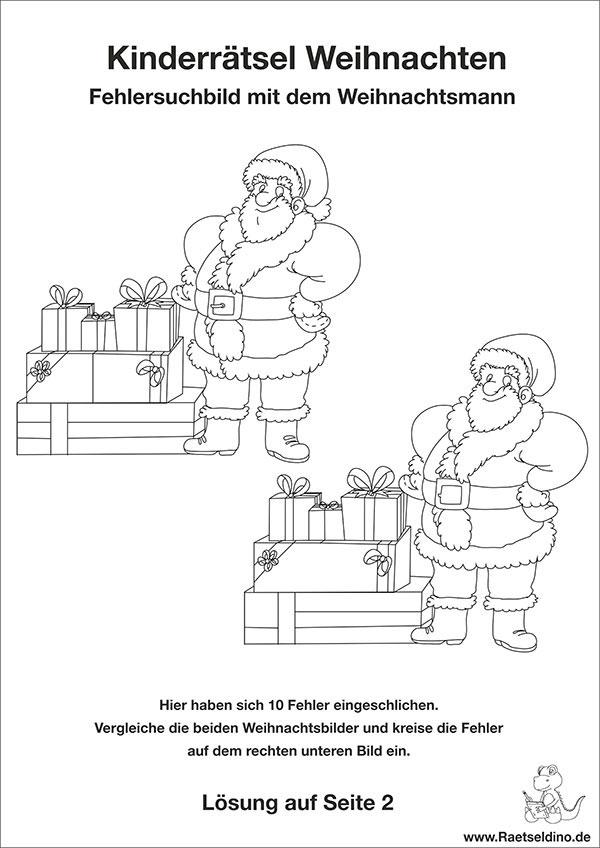 kinderr tsel zu weihnachten mit dem weihnachtsmann. Black Bedroom Furniture Sets. Home Design Ideas