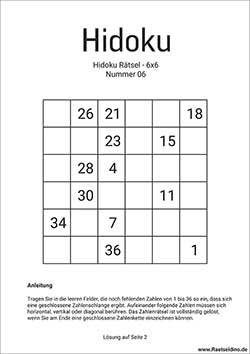 Hidoku 6x6 gratis Download