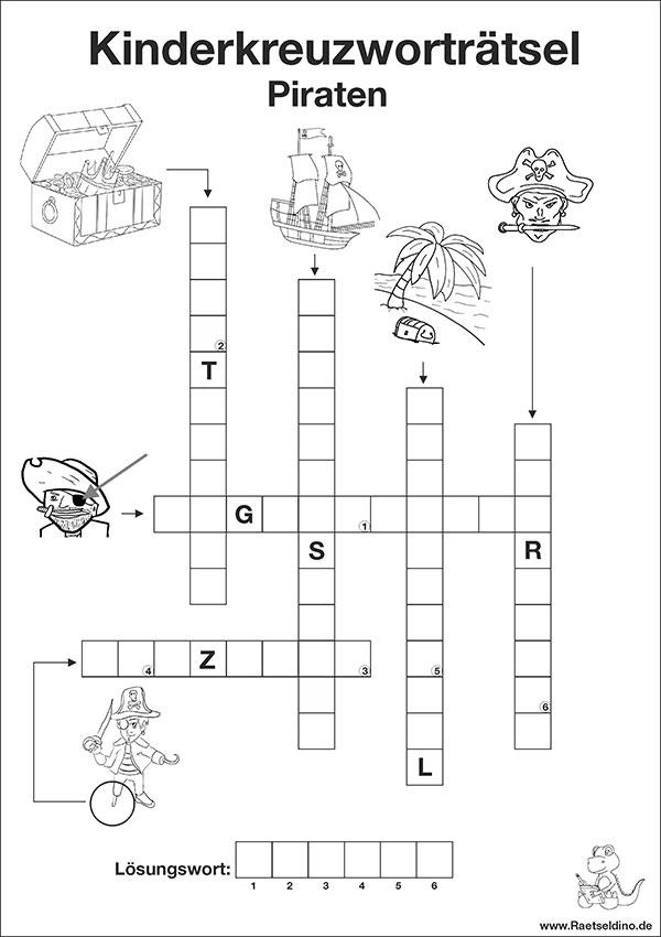 Arbeitsblatt Vorschule kognitives training übungen zum ausdrucken : Kostenloses Kinderkreuzwortru00e4tsel - Piraten