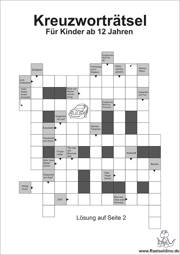 Kreuzworträtsel mit Buchstaben für Kinder ab 12 Jahren