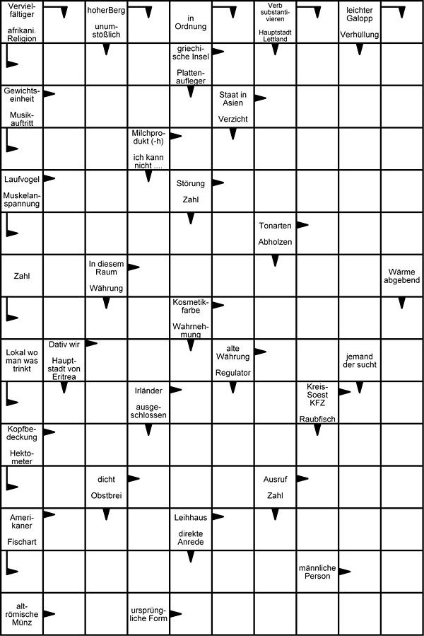 Kreuzworträtsel kostenlos zum Ausdrucken