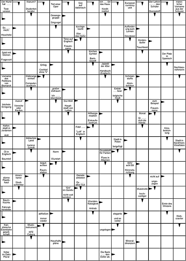 Kreuzworträtsel schwer   Vorlage zum Ausdrucken