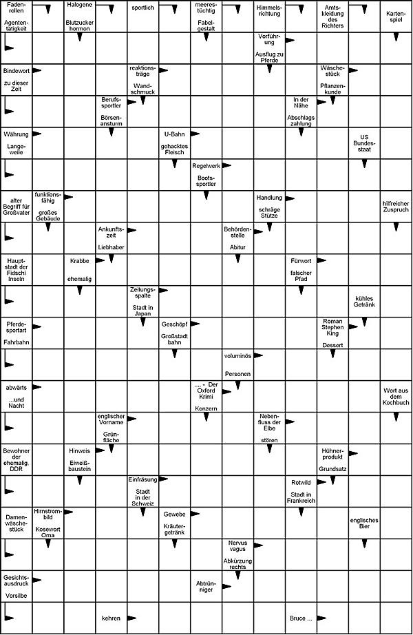 Kreuzworträtsel Vorlage zum Ausdrucken