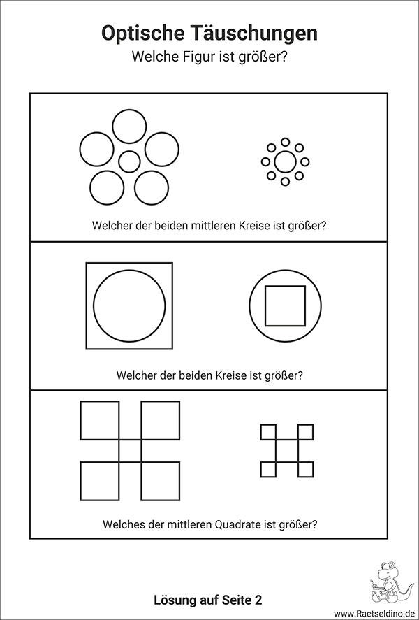 Optische Täuschungen Für Kinder Zum Ausdrucken
