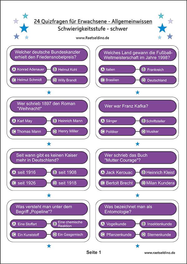 Quizfragen mit Antworten zum Ausdrucken