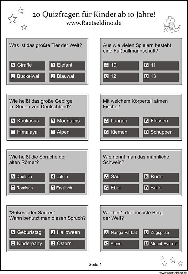 Quizfragen für Kinder zum Ausdrucken