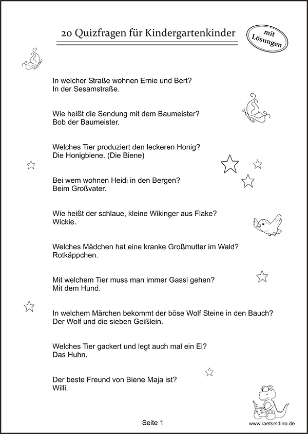 Quizfragen f r kindergartenkinder for Koch quiz kinder