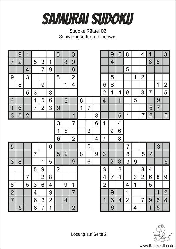 Samurai Sudoku Mit Lösung Schwer