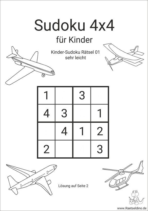 kinder sudoku 4x4 zum ausdrucken