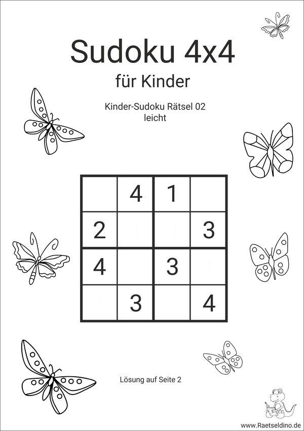 Kinder sudoku 4x4 - leicht