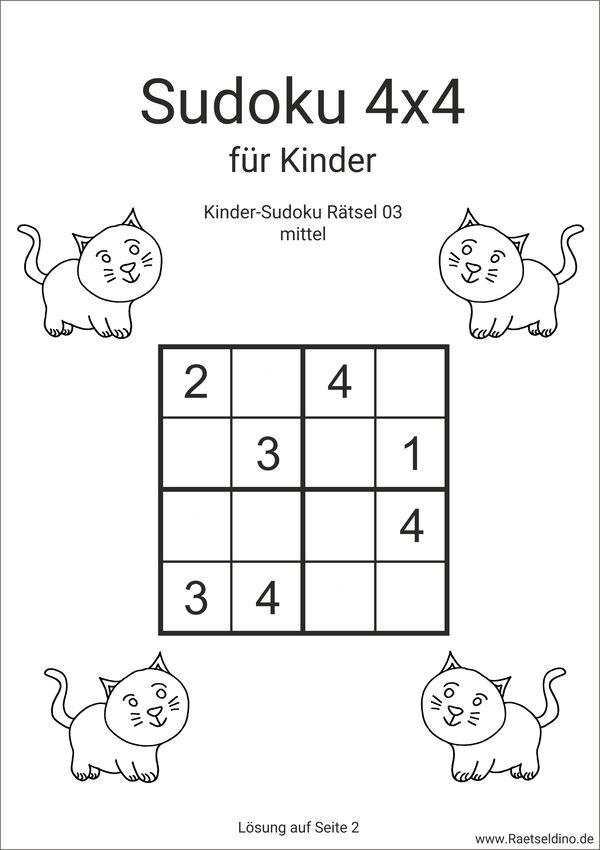 kinder sudoku mit l246sung zum ausdrucken