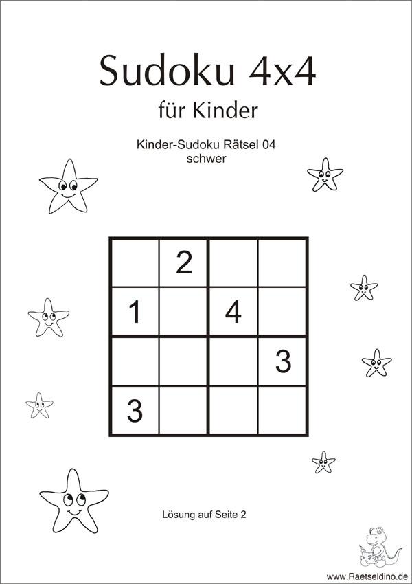 Kinder Sudoku schwer mit Lösung zum Ausdrucken