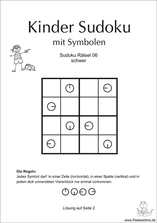 Kindersudoku mit Symbolen - schwer
