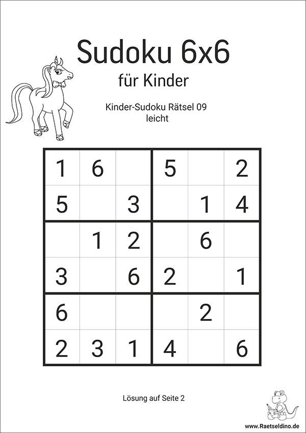 Kinder Sudoku 6x6 zum gratis Drucken
