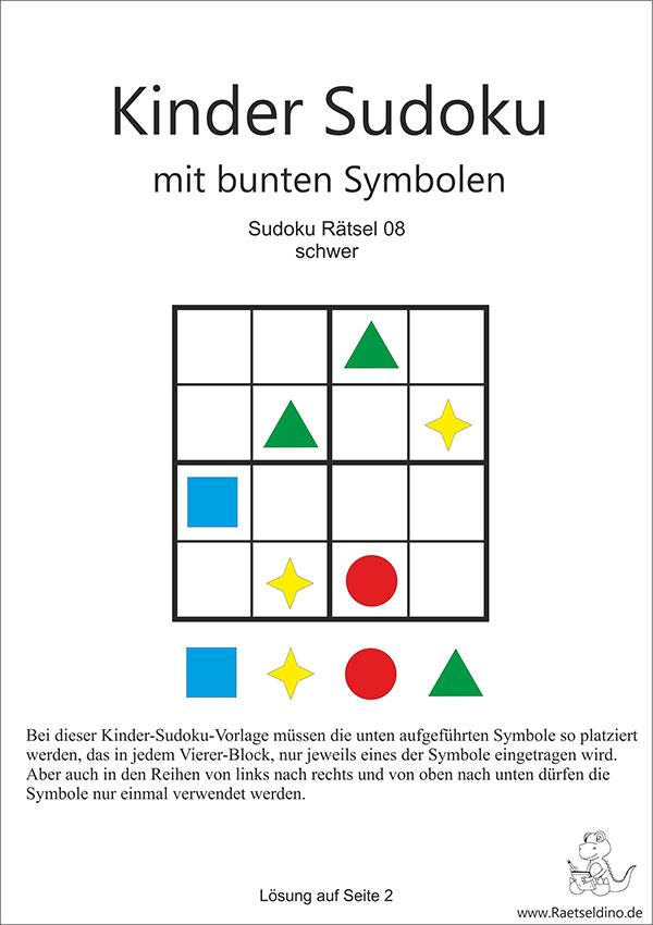 Gratis Sudoku für Kinder mit Symbolen - schwer