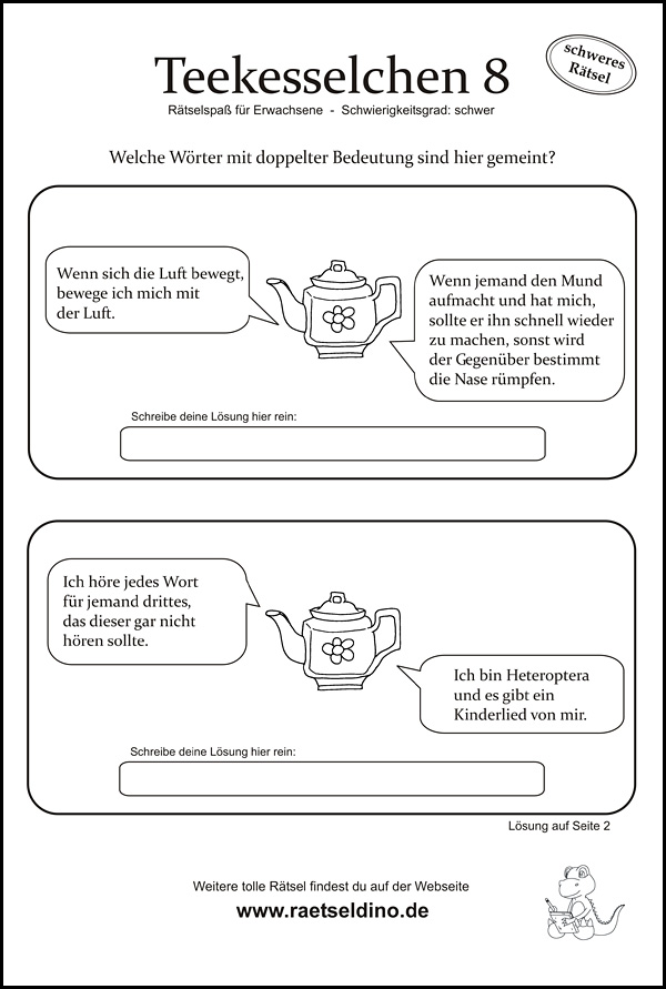 Kniffliges Teekesselchen Rätsel für Erwachsene