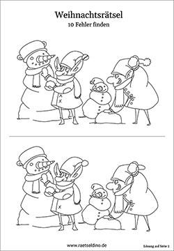 fehlersuchbilder für kinder weihnachten - schneemann finde die 10 unterschiede kostenlose spiele
