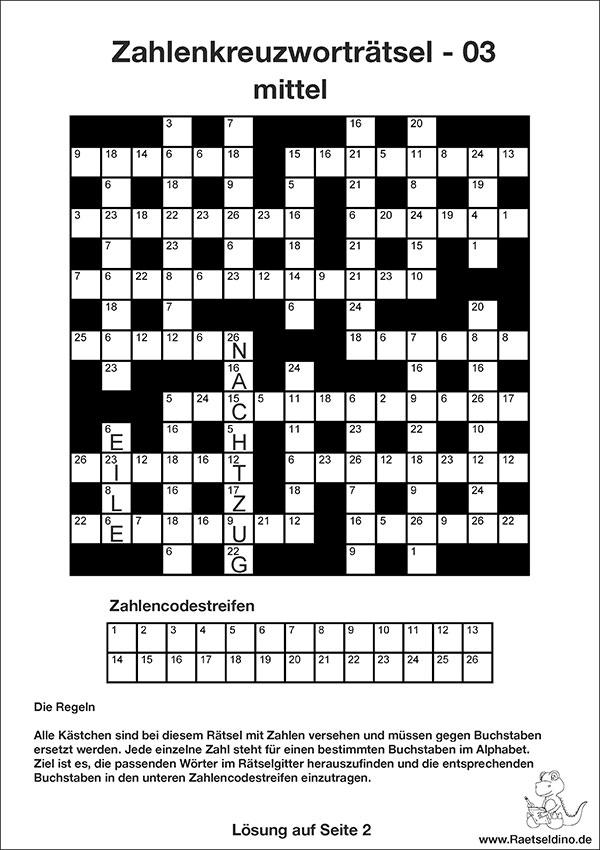 Zahlenkreuzworträtsel   Vorlage zum gratis Download