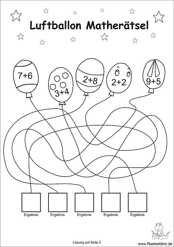 Luftballon Matherätsel zum Ausdrucken - 1. Klasse